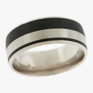 Carbon Fiber and Palladium Men's Wedding Band