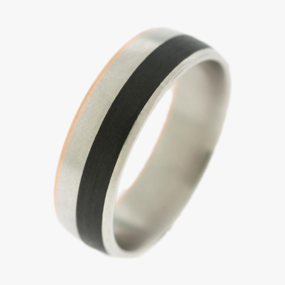 Carbon Fiber Men's Wedding Bands  Palladium Ring