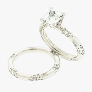 Platinum Lace Ring Mounting with Wedding Band