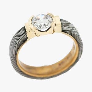 Damascus Steel and Yellow Gold Engagement Ring Setting