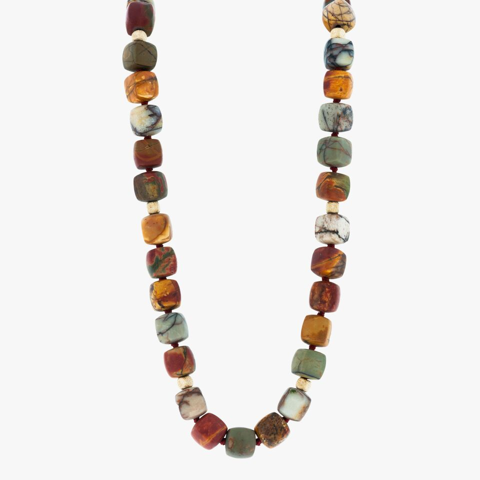 Picasso Jasper and Yellow Gold Woman's Necklace