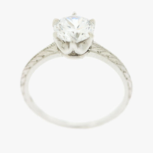 Engraved Platinum Solitaire Engagement Ring