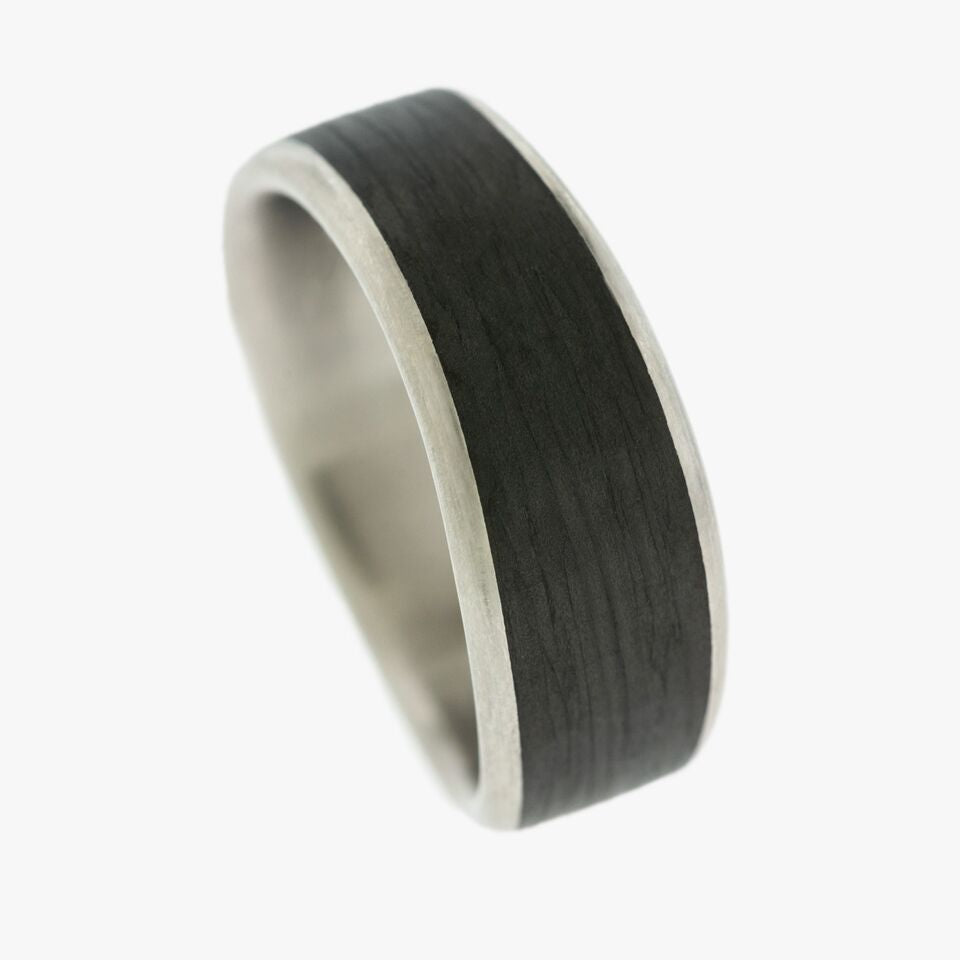 Carbon Fiber and Palladium mens Men's Wedding Band Ring Partita customer jewelry design