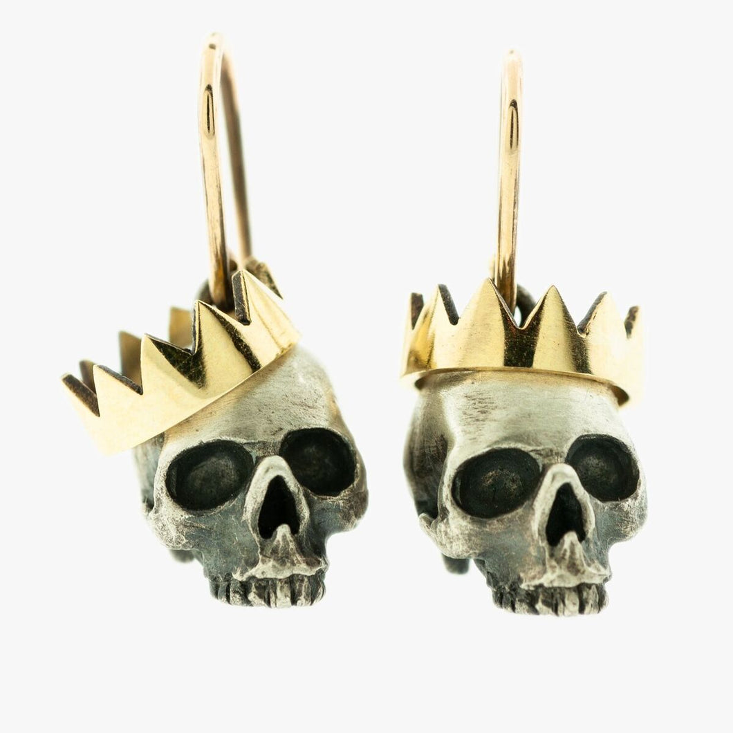 Yellow Gold and Sterling Silver Skull Earrings with Crowns