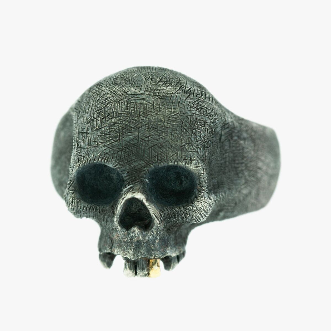 Sterling Silver and Yellow Gold Skull Ring