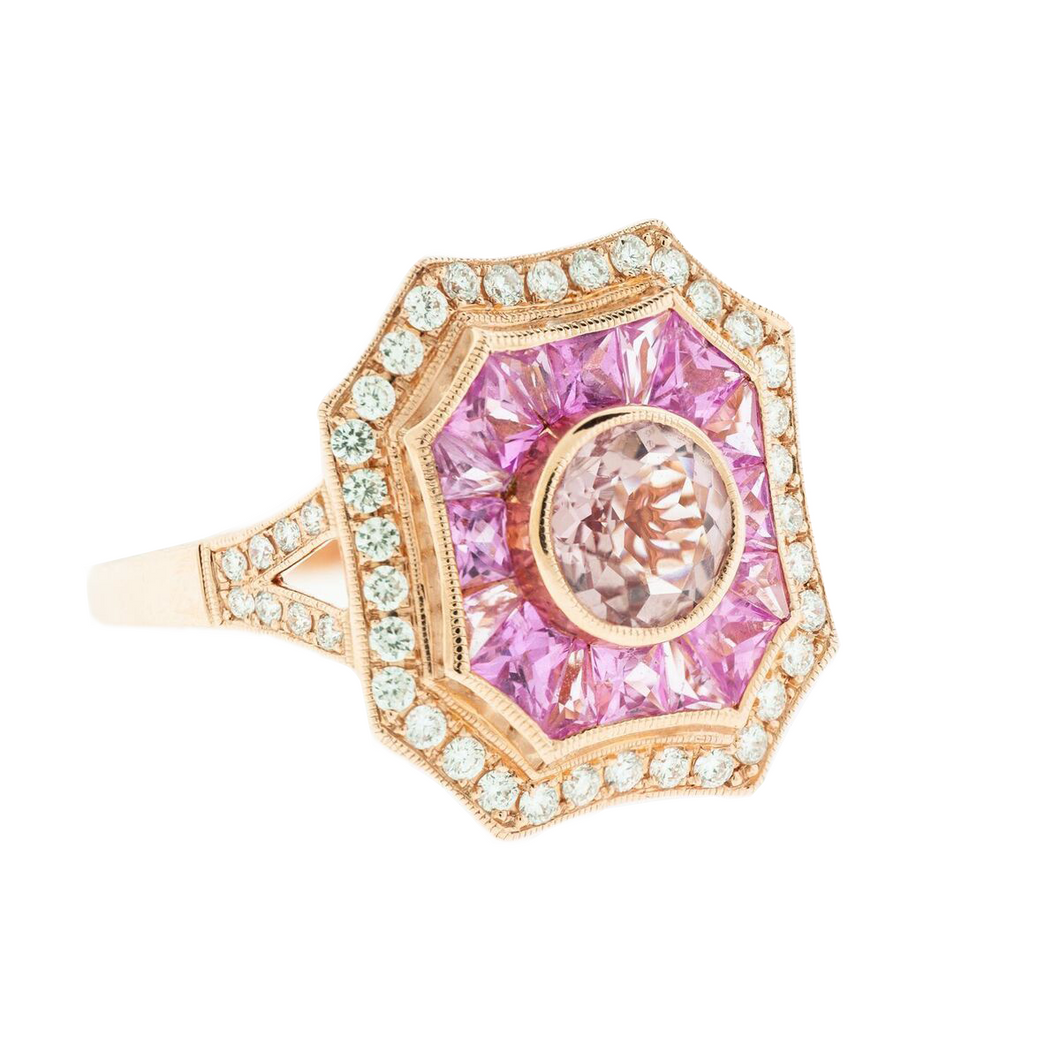 Rose Gold, Diamond, Pink Sapphire and Morganite Ring