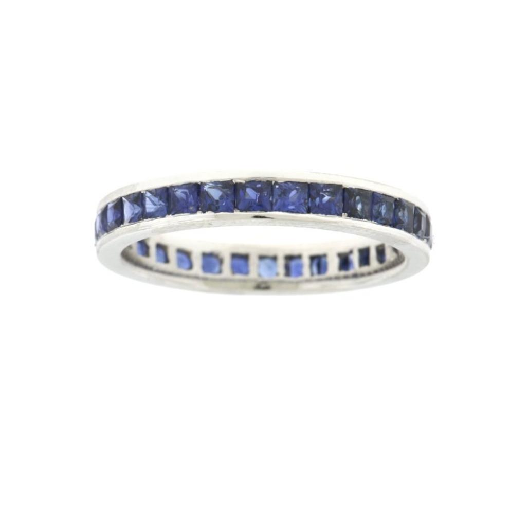 Square Sapphire Channel Set Eternity Band