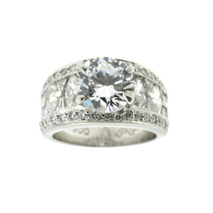 Wide Diamond Band With Center Round Ring