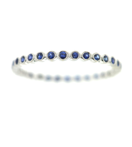 White Gold Band with Sapphires
