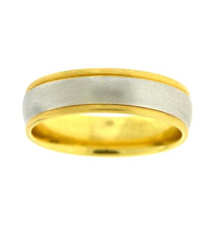 Two Tone Smooth Center Wedding Band