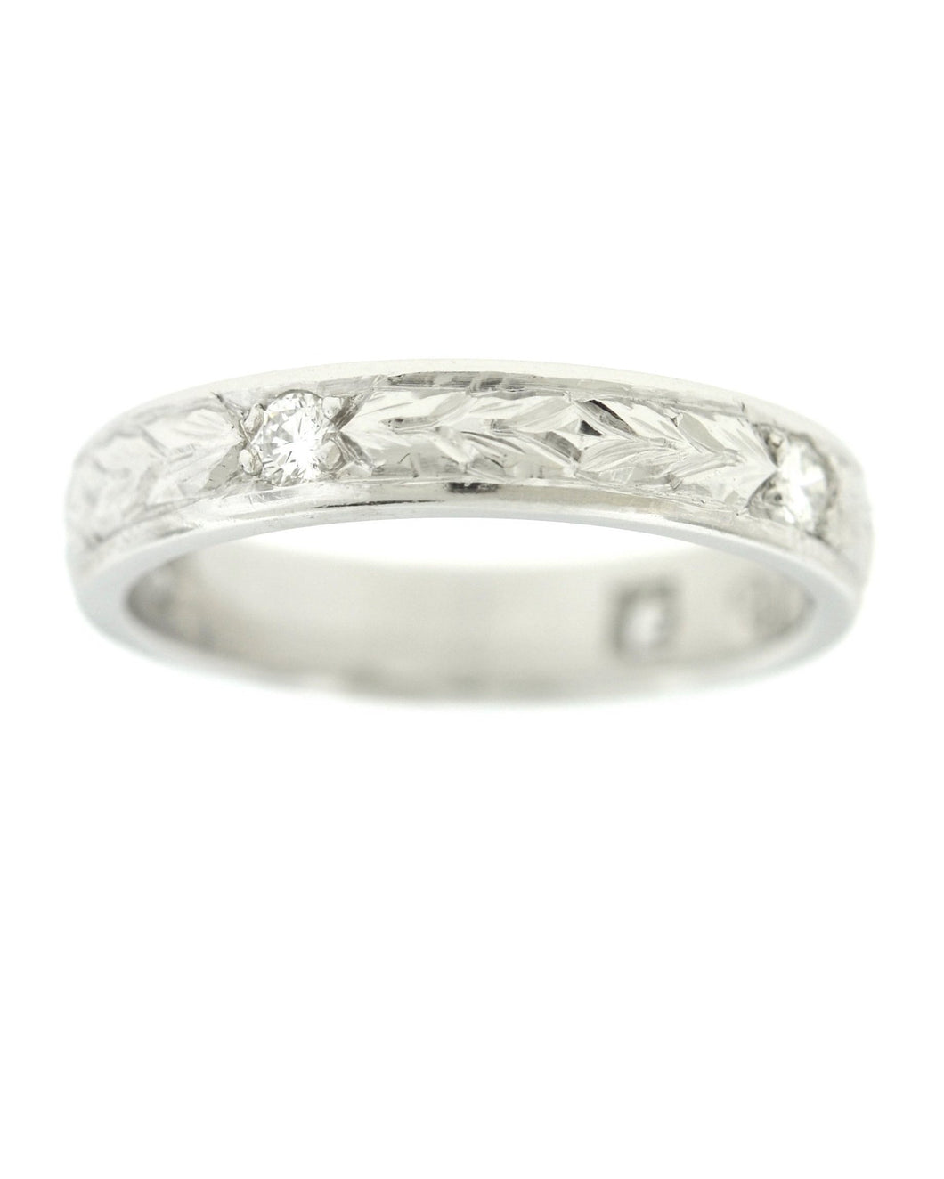 Engraved Wheat Band with Diamonds