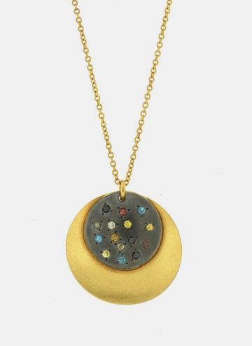Gold Circle Necklace with Diamonds