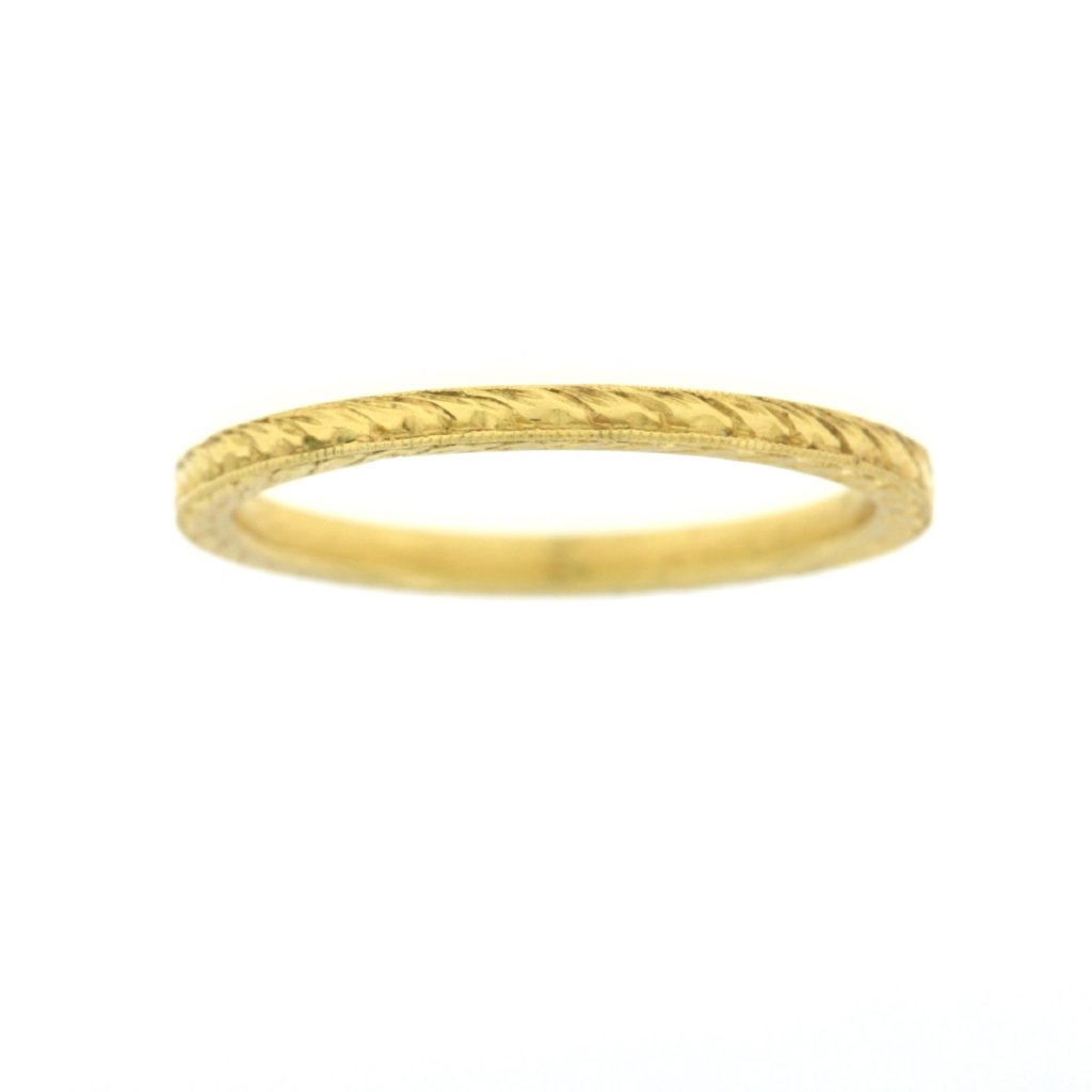 Yellow Gold Engraved Wedding Band