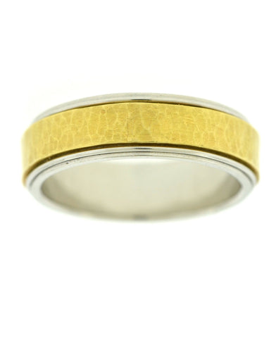 Two Tone Bevelled Wedding Band