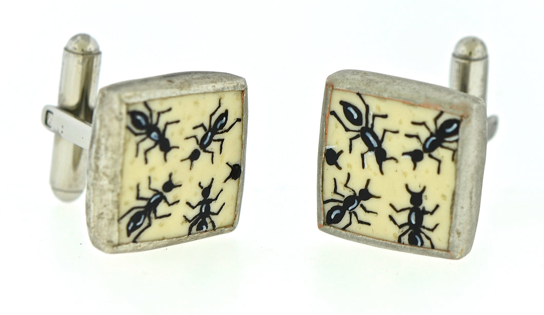 Painted Ostrich Shell Cufflinks