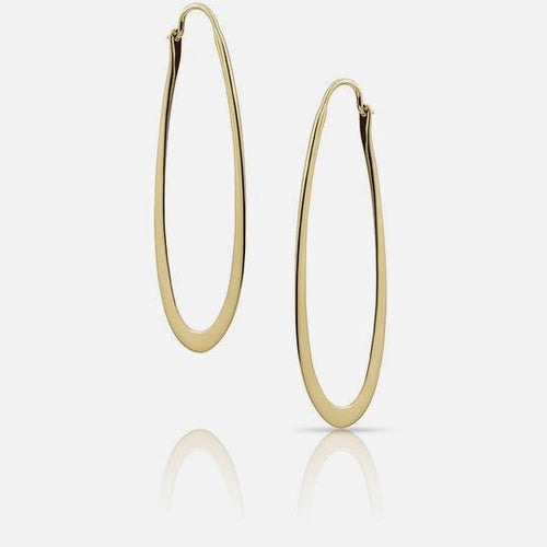 Large Hammered Oval Hoops
