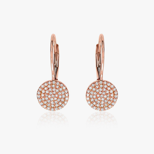 Round Pave Leverback Earring