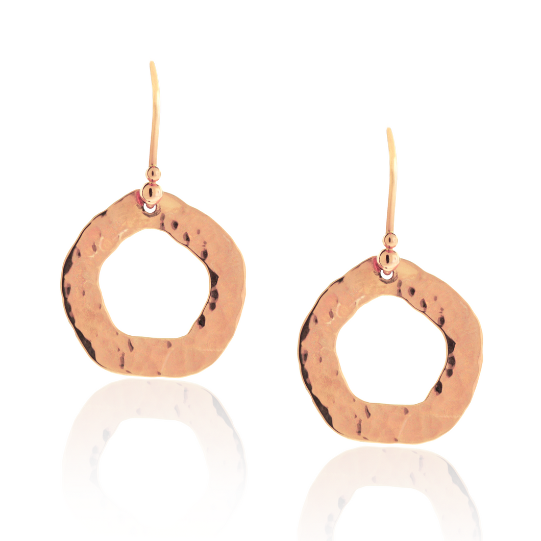 Hammered Rose Gold Earrings
