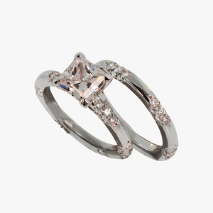 Princess Cut Lace Engagement Ring Setting and Band