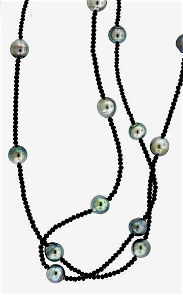 Blue Sapphire and Tahitian Pearl Necklace