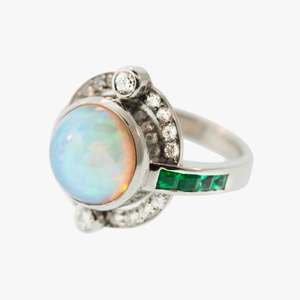 Opal, Emerald, & Diamond Ring