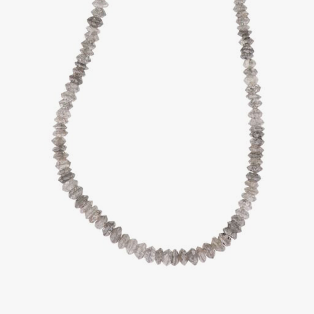 Round Grey Diamond Faceted Bead Necklace