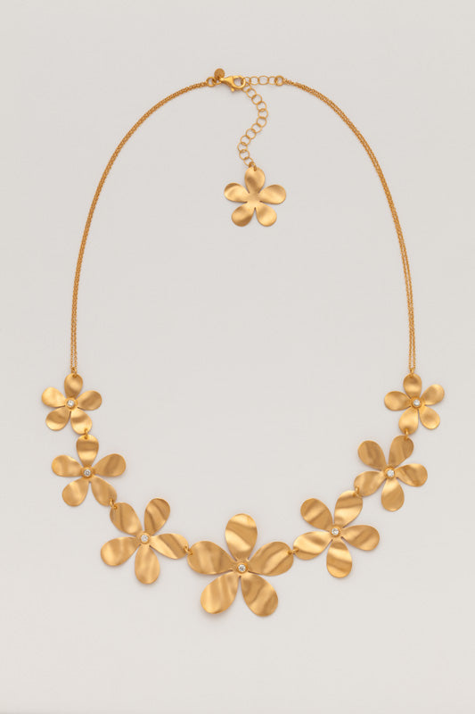 Flower Necklace in Yellow Gold and Diamonds Partita custom design San Francisco