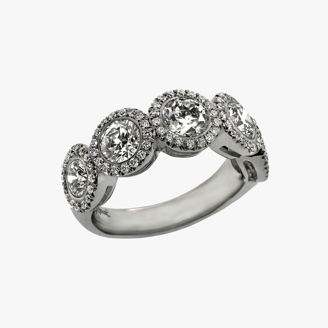Five Stone Diamond and Halo Engagement Ring Setting