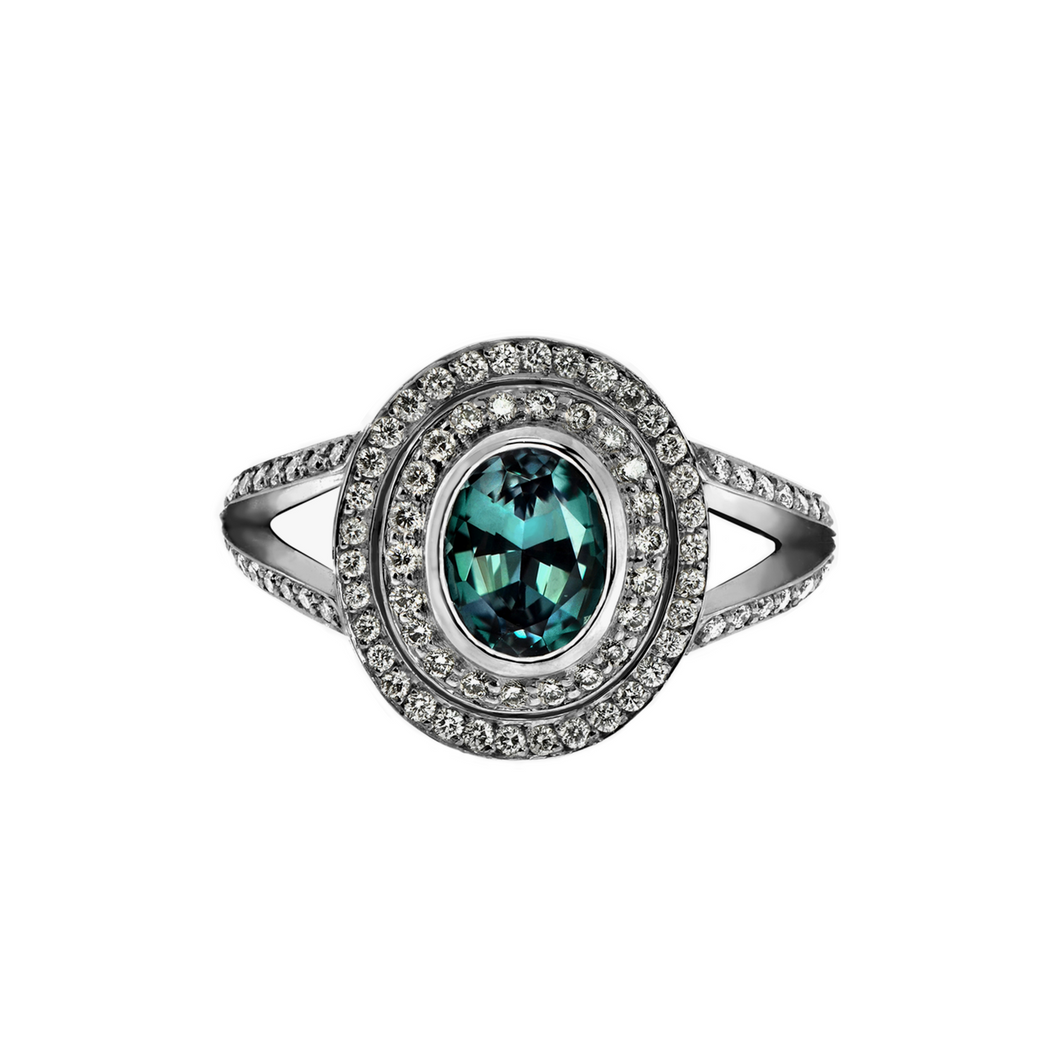Alexandrite Double Halo Ring
