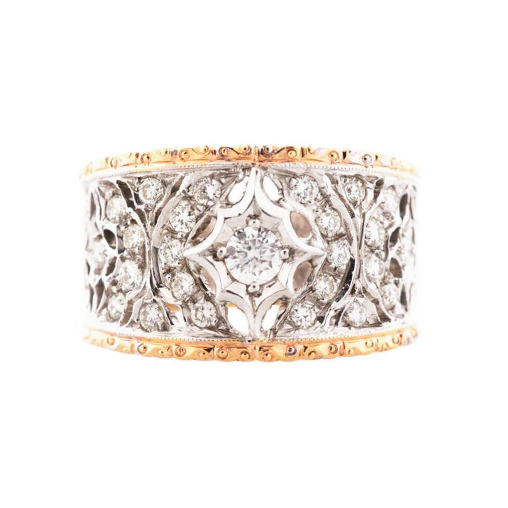 Rose and White Gold Florentine Style Ring