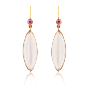 Rose Gold, Pink Quartz and Pink Sapphire Earrings