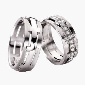 Plain Bridge with Raised Center Men's Wedding Band