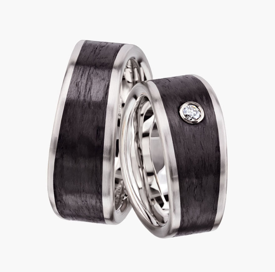Carbon Fiber and Rose Gold Men's Wedding Band Bands Furrer Jacot Jewelry Store San Francisco 37.800233, -122.440168