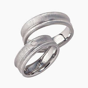 Brushed Bevelled One Edge Men's Wedding Band