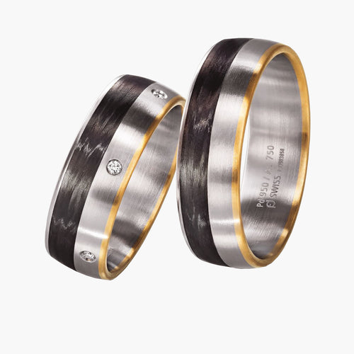 Carbon Fiber and Rose Gold Men's Wedding Band Bands Furrer Jacot Ring  Jewelry Store San Francisco 37.800233, -122.440168