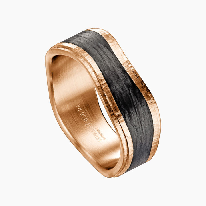 Men's Wedding Band San Francisco Jewelry Store Carbon fiber Rose Gold 37.800233, -122.440168