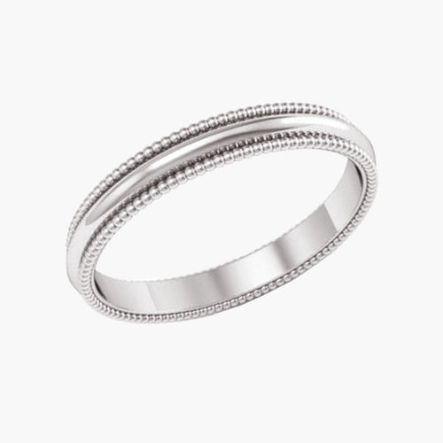 Milgrain Half Round Wedding Band