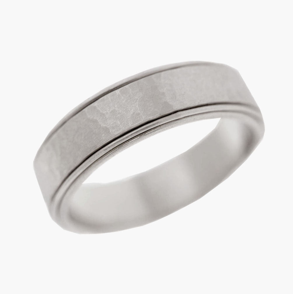 Hammered Men's Wedding Band with Polish Edges