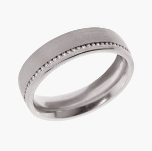 Wide Channel Set Diamond Men's Wedding Band