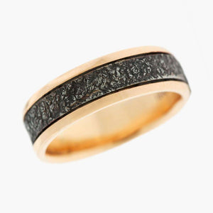 Rose Gold and Etched Steel Men's Wedding Band