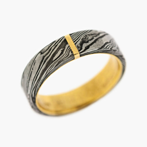 Damascus Steel Flat Men's Wedding Band
