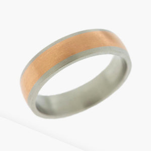 Platinum and Rose Gold Men's Wedding Band