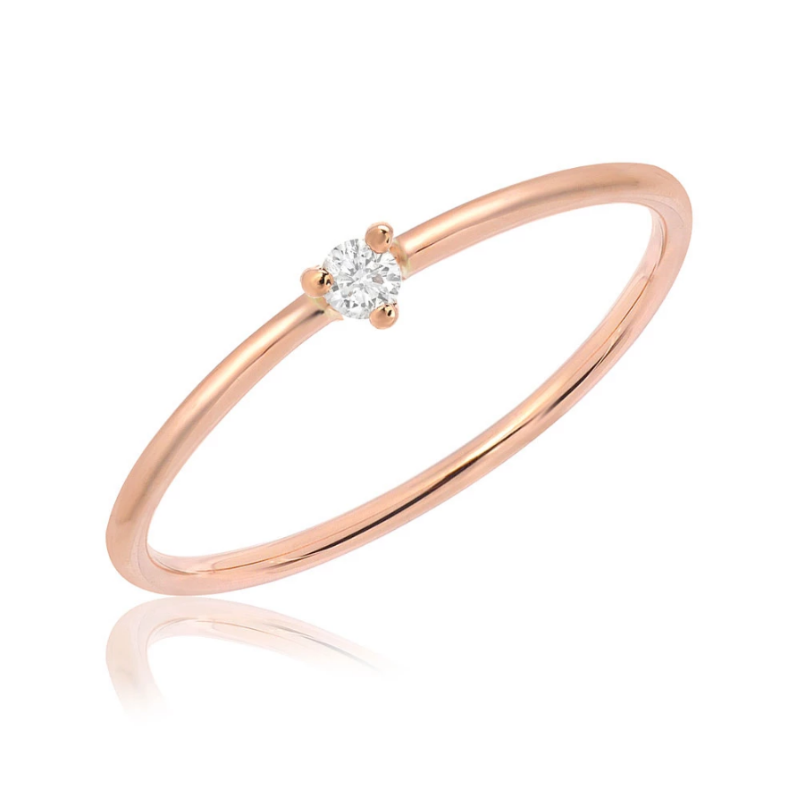 Single Diamond High Polish Rose Gold Band