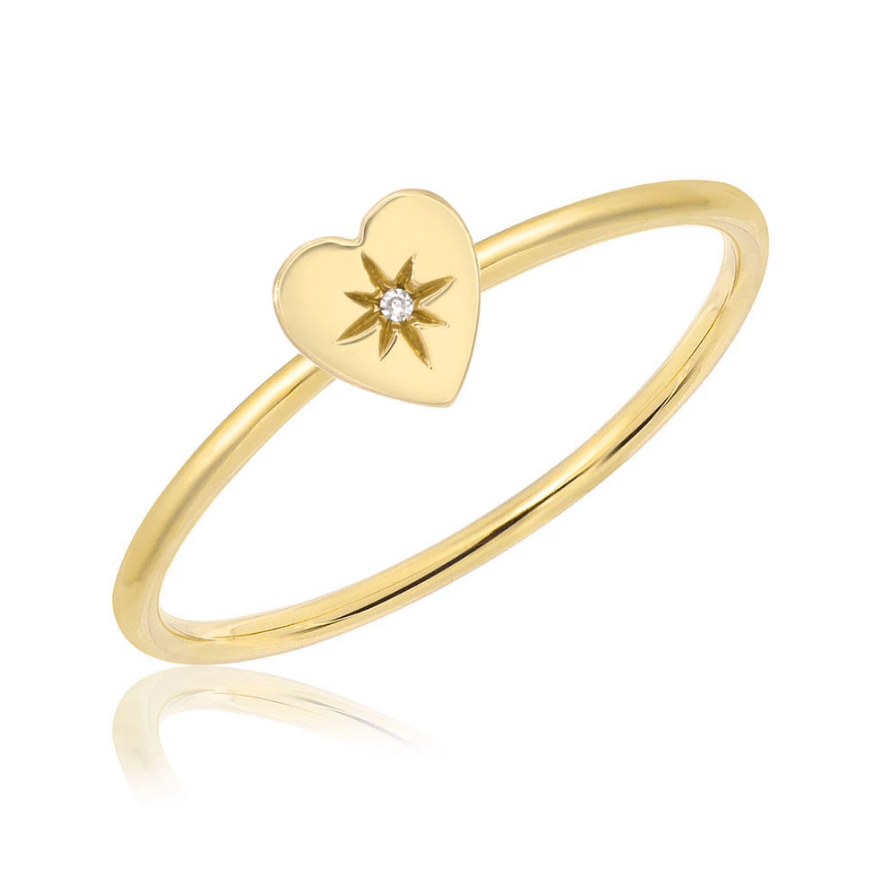 High Polish Starburst Heart Stackable Ring
