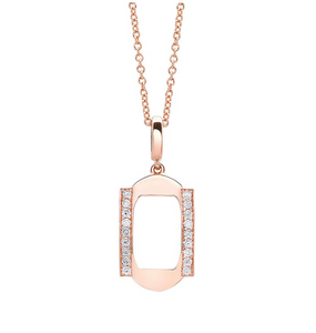 Rose Gold Frame Pendant with Diamonds