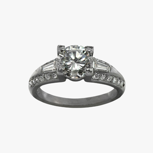 Diamond Engagement Ring with Tapered Baguettes