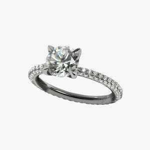 Three Sided Pave Solitaire Diamond Engagement Ring Setting