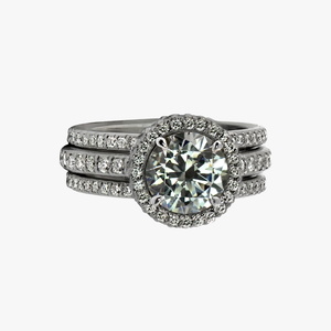 Trois Engagement Ring and Bands Diamond Band San Francisco Partita custom design jewelry