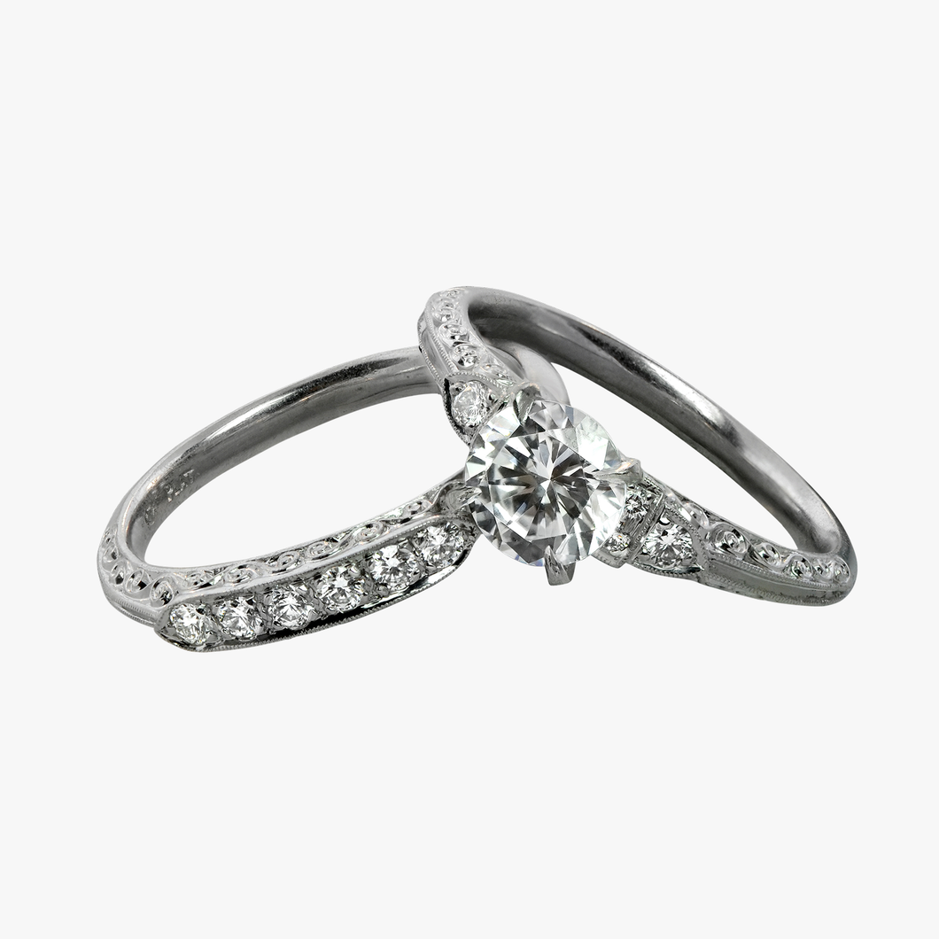 Vintage-Inspired Diamond Engagement Ring Setting and Band