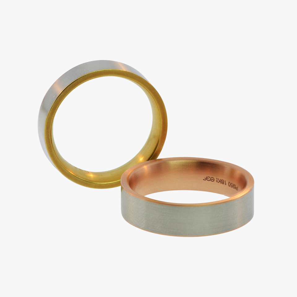 Platinum and Rose or Yellow Gold Wedding Bands